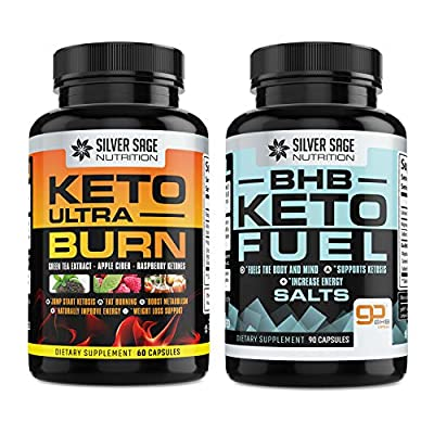 Silver Sage Nutrition Keto Power Pack Duo Weight Loss Keto Diet Pills BHB Ketones 1200mg and Ultra Natural Fat Burning Supplement with Green Tea, Apple Cider, Raspberry Ketones