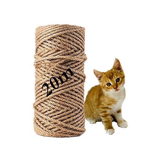 MEISHANG Seil für Katzenbaum,Natural Sisal Seil,Katzen Natürlich Sisal Seil,Katzen Zubehör Kratzbaum,Seil für Kratzbaum,Natürliches Sisalseil,Sisalseil für Kratzbaum (20m)