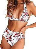 Bikini de Mujer Conjunto de 8 Piezas de Cuello Halter Traje de Baño de Estampado Floral de Cintura Alta para el Verano(Fiore,M