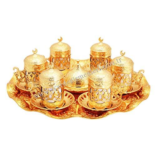 Set regalo con piattino per caffè greco e arabo turco (oro)