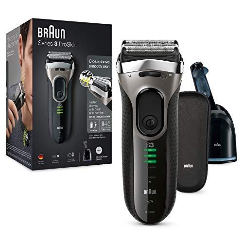 Braun Series 33090eléctrico del hombre Foil máquina de afeitar con limpio y estación de carga, batería y sin cable