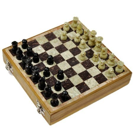 The Hue Cottage Tablero de ajedrez Artesanal Trabajo de la Piedra Joya de mármol Monedas labradas Juegos de Interior Juguete Caja de Madera