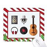 Tappetino natalizio in gomma per mouse con cuffie e microfono, motivo: bastoncino di zucch...