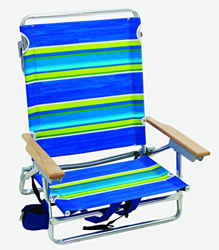 Rio Gear Brands 5 Position Classic Lay Flat Beach Chair with Backpack Straps - Tropical Fusion Wide Stripe, 8.5