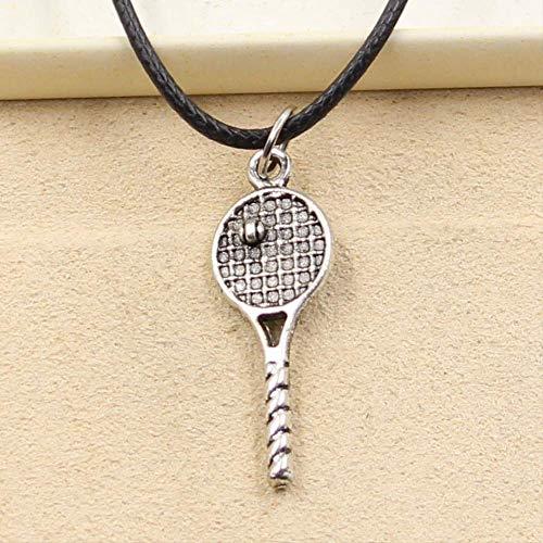 xtszlfj Tibetano Color Plata Colgante Tenis Raqueta Collar Gargantilla Encanto Negro Cuero cordón fábrica Precio joyería Hecha a Mano
