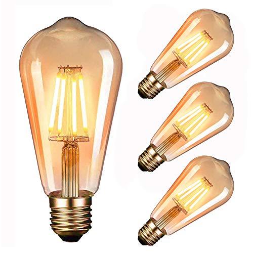 Edison Vintage Glühbirne LED, Massway Retro Edison Glühlampe E27 (4W / 220V) 2600-2700K Amber Warmweiß LED Retro-Licht, Antike Lampe im Vintage-Stil im Haus Café Bar usw- 3 Stück
