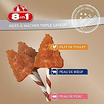 8in1 Triple Flavour Wings – Ailes à Mâcher pour Chien adulte – Plus de viande, plus de durée de mâche - Limite le Tartre - Sans OGM, Conservateur Artificiel - 113g