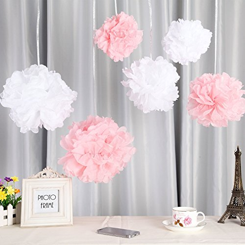 Fanaticism 20er Set Seidenpapier PomPoms weiß rosa Hochzeit Party Deko, 25cm