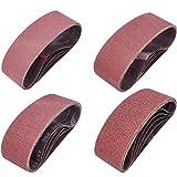 Sackorange 20 PCS 3 inch x 21 inch Abrasive Sanding Belts - 5 Each of 40 80 120 240 Grit Aluminum Oxide Sanding Belts For Belt sander (3 x 21 inch)
