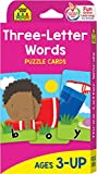 School Zone - Three-Letter Words Puzzle Flash Cards - Ages 3+, Preschool to Kindergarten, Letters, Letter Recognition, Word-Picture Recognition, Spelling, and More