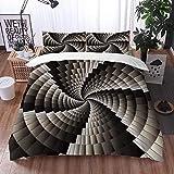 Qinniii Bedsure Funda Nórdica,Espiral ilusión Abstracta Arte óptico geométrico Circular Remolino Creativo,Fundas Edredón 240 x 260 cmcon 1 Funda de Almohada 40x75cm