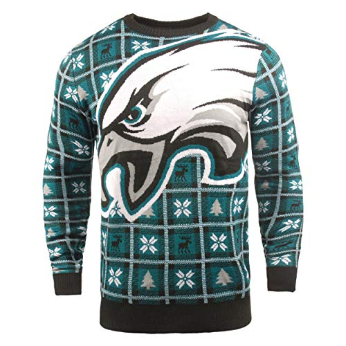 BIG NFL Ugly Sweater Pullover Christmas Philadelphia Eagles Logo Weihnachtspullover (L)