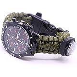 LANSKIRT Outdoor Survival Watch Armband Paracord Kompass Flint Feuerstarter Pfeife (E)