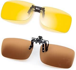 Clip On Polarized Sunglasses [Blocking UV] Classic Sun Glasses for Men/Women