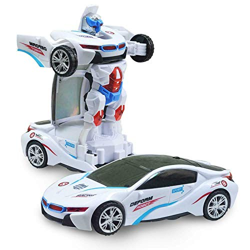 thehomegallery Transformers Robot Car Toy with Lights and Sounds for Kids Bump and Go
