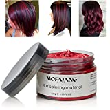 MOFAJANG Hair Coloring Dye Wax, Wine Red Instant Hair Wax, Temporary Hairstyle Cream 4.23 oz, Hair Pomades, Natural...