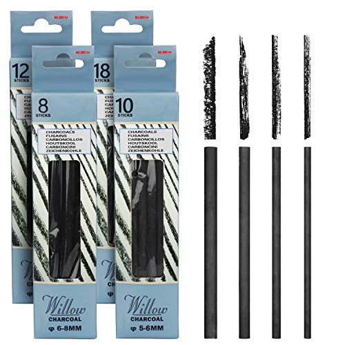 MyLifeUNIT Vine Charcoal Sticks, 4 Pack Willow Charcoal Pencils for Artists Drawing (48 PCS)