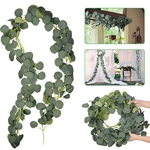 Eyscoco Künstliche Eukalyptus Girlande Künstlich Pflanze, Eukalyptus Blätter Deko Girlande Hochzeit Eukalyptus Kranz für zu Hause Küchen Garten Büro Hochzeit oder als Wanddekoration