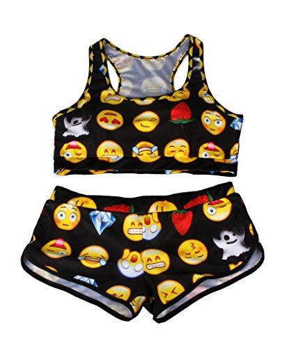 DODOING Damen Sport-BH Bikini Set High Waist Halter Frauen Gedruckte Wort Bikini Top Vest Sportlich Bademode