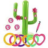 Bascolor 17Pcs Jeux Lancer Anneaux avec Cactus Gonflable Anneau Gonflable Nombre Autocollants et Flamingo Boite Cadeau pour Jeux Piscine Exterieur Enfant Adulte Mexican Fiesta Party Anniversaire