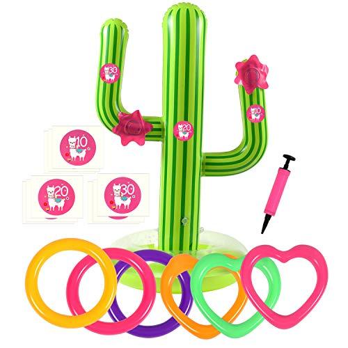 Bascolor 17Stk Aufblasbare Ringwurfspiel Wurfspiel Kinder mit 1pcs Aufblasbarer Kaktus 6pcs Aufblasbarer Ringwurf 9pcs Zahlenaufkleber 1pcs Flamingo Geschenkbox Schwimmparty Sommer Party Spiel
