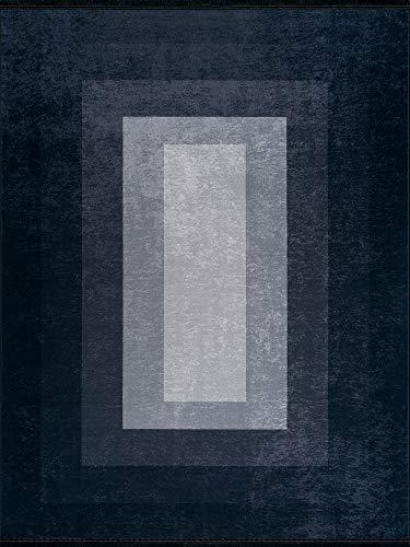 Siela Waschbare Teppich Wohnzimmer rutschfest Hochwertig Pflegeleicht Strapazierfähig und Schadstoffgeprüft Versch. Muster und Größen (Grau-1709, 120 x 180 cm)