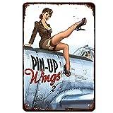 DJNGN PinkUp Girlssexy mujeres soldado colorido militar Sitg On Plane Vintage Poster Pintura Garaje Familia Café Bar Granja