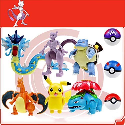 Pokemon Toy Pikachu Action Figures,Charizard,Gyarados - Figure Toy Model Deformation Set Set of 6