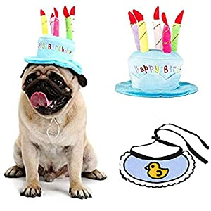 Spopetee Pet Birthday Cake Hat with Bandana Bibs for Dogs and Cats,Puppy Girl Boy,with Adjustable Clip.