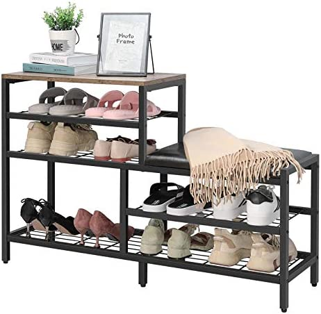 Shoe Rack Bench 5 Tier Shoe Storage with Seat Industrial Entryway Bench Metal Storage Shelves product image