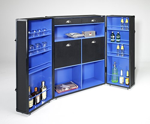 Kofferschrank Bar Schwarz Blau Schrankkoffer Holz auf Rollen Kommode Kommodeschrank Container Design
