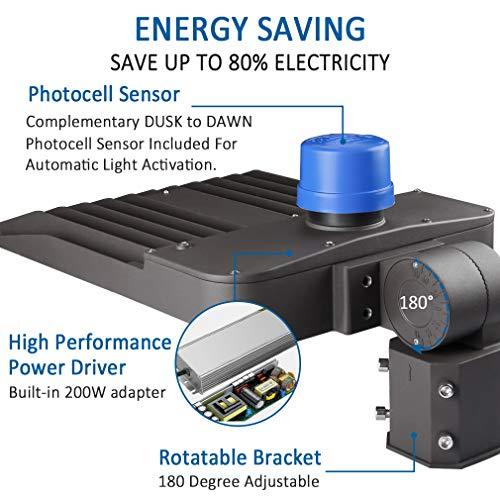 LED Parking Lot Lights 200W - 3 Pack Adjustable with Photocell Slip Fitter LED Parking Lot Lighting 26000lm 5000K