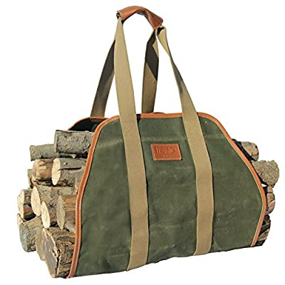 """INNO STAGE Waxed Canvas Log Carrier Tote Bag,40""""X19"""" Firewood Holder,Fireplace Wood Stove Accessories"""