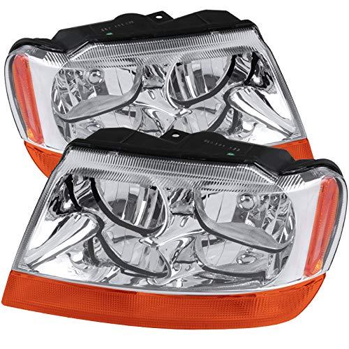 CARPARTSINNOVATE For 99-04 Grand Cherokee Clear Headlights Amber Turn Signal Lamps Headlamps