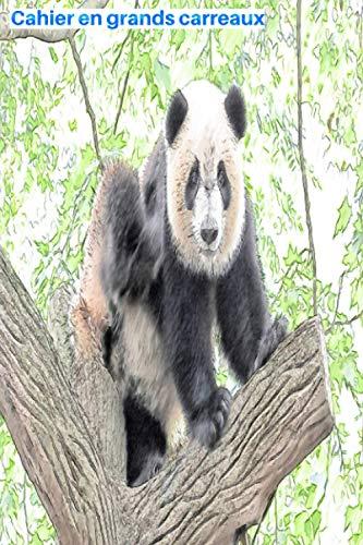 """Cahier en grands carreaux: Panda assis sur un arbre autour des feuilles: 103 pages, 15,24 x 22,86 cm (6"""" po x 9"""" po), réglure Seyès en blanc et noir ... étudiant, élève, école et université"""