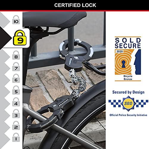 MASTER LOCK Menottes antivol [Certifié Sold Secure] 8290EURDPRO – Idéal pour les vélos, trottinettes et poussettes, Mixte adulte, Noir, 9 Maillons