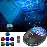 LOBKIN Night Light Projector and Ocean Night Light with Built-in Mini Music Player Sleeping Soothing White Noise Sound Machine for Kids Living Room Bedroom (Black)