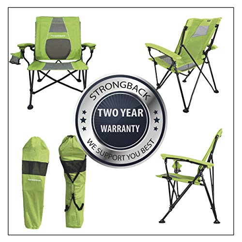 STRONGBACK Elite Folding Camping Lawn Lounge Chair Heavy Duty Camp Outdoor Seat with Lumbar Support and Portable Carry Bag, Lime/Grey