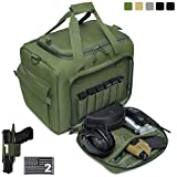 DBTAC Gun Range Bag Large | Tactical Pistol Shooting Range Duffle Bag for 4+ Handguns Range Trip - 2 in 1 Camera Duffel Bag with 2X Removable Velcro Divider for DSLR (OD Green)