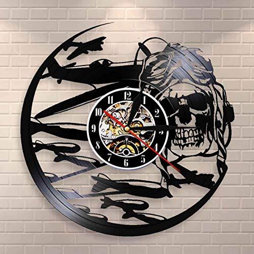 YINU Retro Pilot Skull Reloj de Pared Aviator Skeleton Disco de Vinilo Reloj de Pared Avión Flying Jet Casco Hipster Goggles Skull Wall Deco