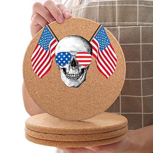 16 Piece Cork Round Trivets, Skull Hot Pots Holder for Bar Kitchen Restaurant Cafe, Diameter 7.9inch Coaster for Dishes Bowl Hot Pots and Pans, American Flag Stars Stripes