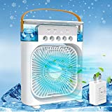 Portable Air Conditioner Fan,Personal Air Cooler Mini Quiet Evaporative with AC adapter, Humidifier Misting Fan, 2/4/6 H Timer, 3 Speeds,60°Adjustment for Office, Home, Room,Dorm,Outdoor- White