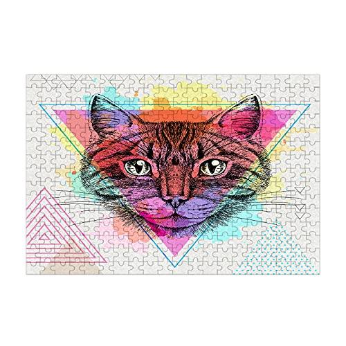 Nicokee Rompecabezas de gato Hipster Animal Polígono Retrato Abstracto Arte Geométrico Grafico Triángulo Imagen Rompecabezas 300 Piezas Madera Juego 35 pulgadas X 10.2 pulgadas