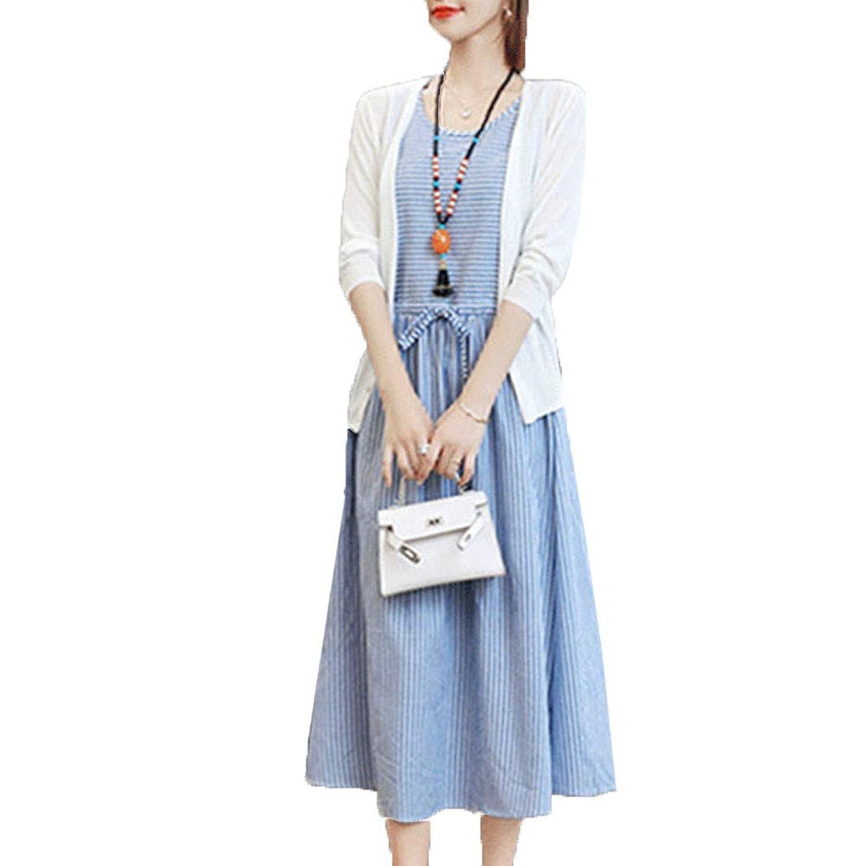 [美しいです] ストライプ ドレス チュニック 綿麻 ワンピース 春 二点セット ワンピース カジュアル ワンピース