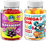 Immune Support - Brain Booster - Heart & Vision Supplement for Kids and Adults- Elderberry Gummies with Omega 3 + DHA Gummies – Boost Your Children's Immunity and Support Brain