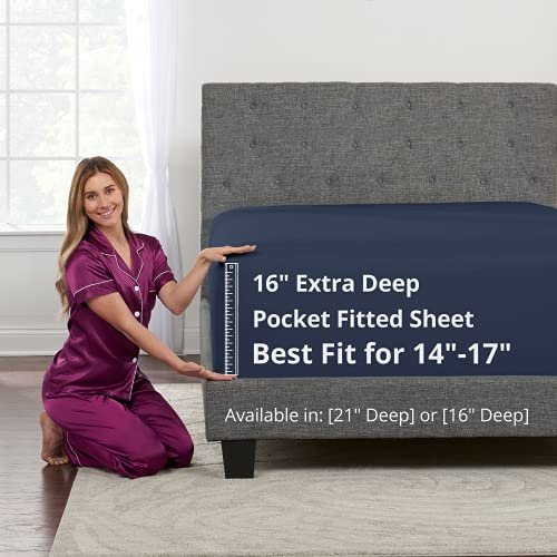 """Queen Size Fitted Sheet Only - Real 16"""" Inch Deep Pocket Queen Fitted Sheet - Best Fit for 14"""" - 18"""" Deep Pocket Mattress Soft Easy Care Bottom Fitted Bed Sheets Only Bedding - Queen Size - Navy Blue"""