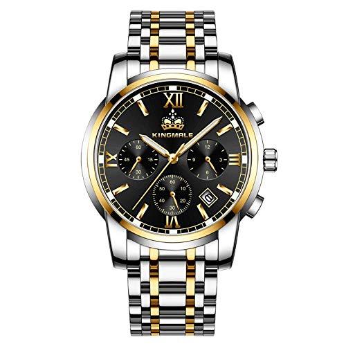 Armbanduhren,Edelstahlschalenstahl Mit Runder 6-Poliger Multifunktionsquarzuhr, Goldschwarze Nudeln