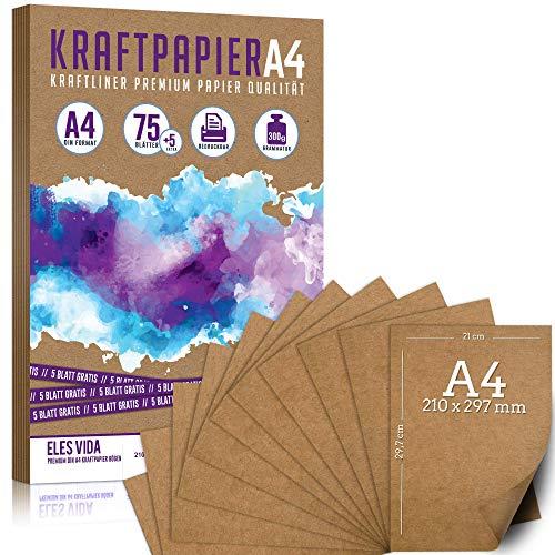75 + 5 Blatt Kraftpapier A4 - 300 g - 21 x 29,7 cm - Bedruckbar - DIN Format, Naturkarton & DIY Deko Bastelpapier Pappe Blätter aus Kraftkarton zum Basteln für Hochzeit, Vintage Geschenke Kartonpapier