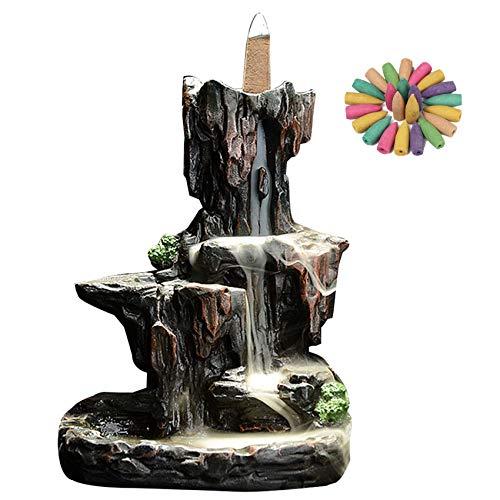 Incensiere con design a montagna con cascata, bruciatore di incenso a flusso inverso, con 10 coni di incenso, in un'adorabile confezione regalo, 14,5