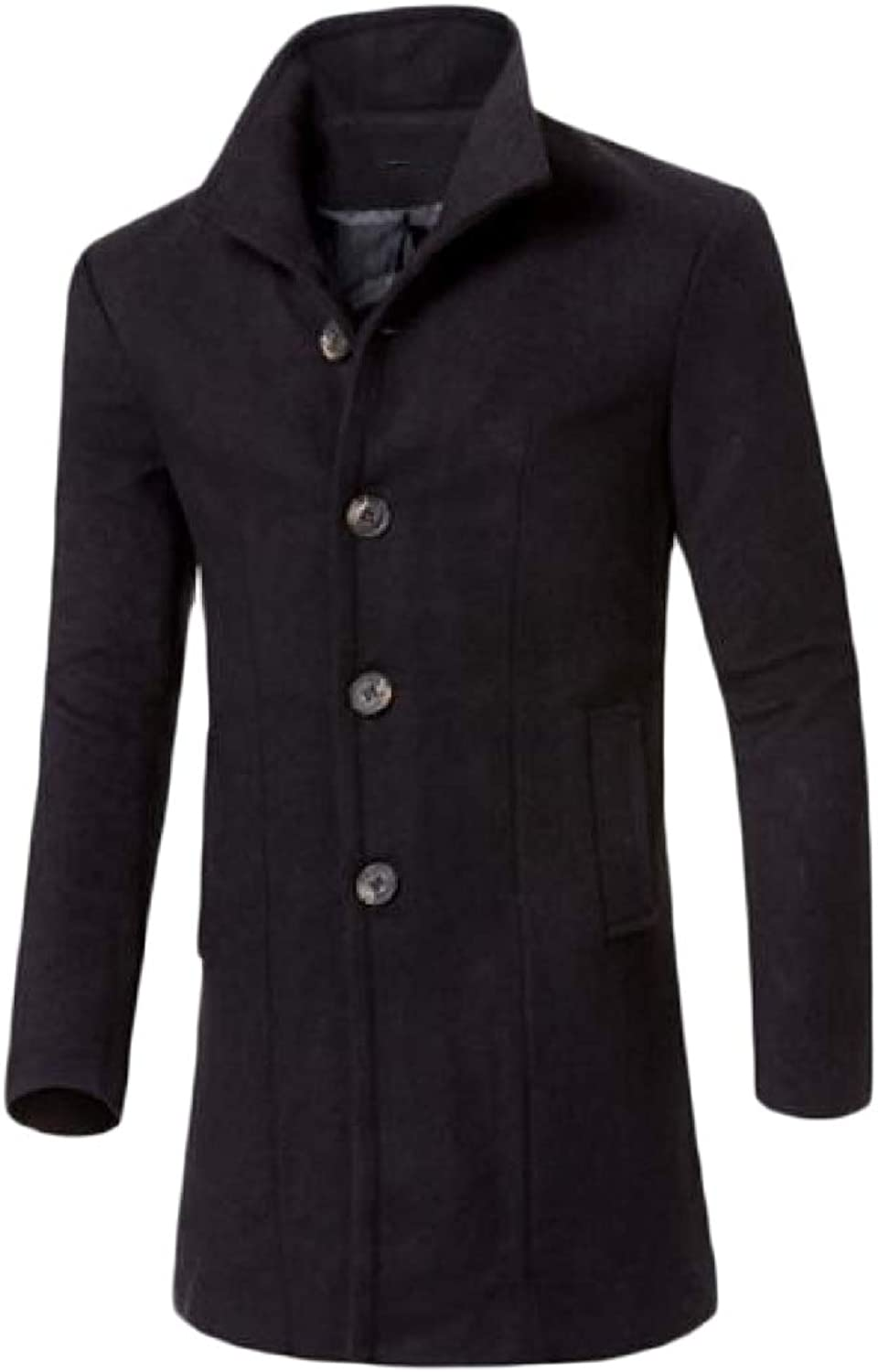 new style 93cc8 6e570 Zimase Mens Mens Mens Slim-Fit Stand Up Collar Pure Colour Trench Mid-Long  Woolen Coat 1cbc37